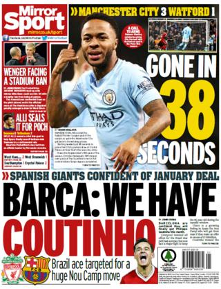The Mirror reports that Philippe Coutinho will be leaving Liverpool for Barcelona