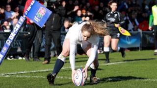 Abby Dow scores for England