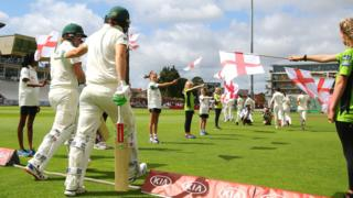 Australia take the field at Taunton
