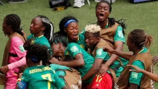 Cameroon players celebrate