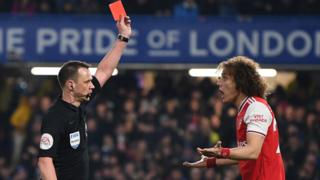 David Luiz is sent off