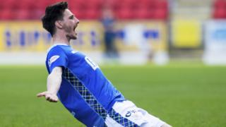 St Johnstone's Scott Tanser celebrates
