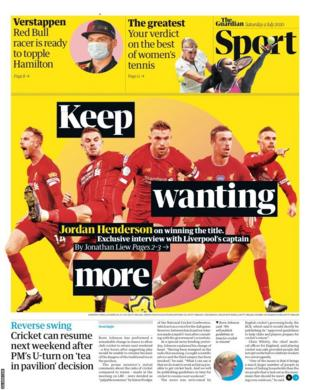 The back page of Saturday's Guardian