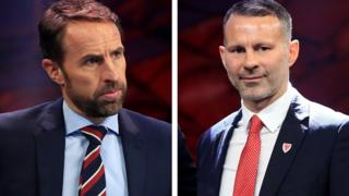 England manager Gareth Southgate and Wales manager Ryan Giggs at the Euro 2020 draw in Bucharest