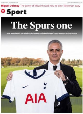 The sports section of the Independent