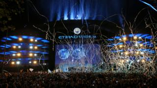 Manchester City's Etihad Stadium as fans celebrate Premier League title