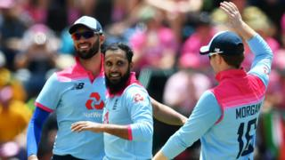 England leg-spinner Adil Rashid (centre) celebrates taking a wicket in the third ODI against South Africa