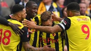 Watford celebrate their FA Cup win
