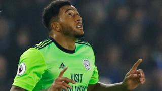Nathaniel Mendez-Laing of Cardiff celebrates his goal against Brighton