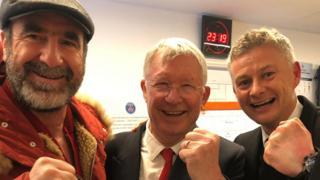 Cantona, Ferguson and Solskjaer