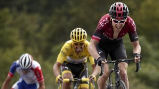 Defending champion Geraint Thomas attacked in fine style late on stage six