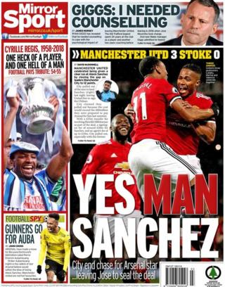 The Mirror back page on Tuesday