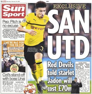 Sun back page on Saturday