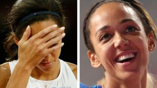 Split image of Katarina Johnson-Thompson at the 2015 and 2019 World Athletics Championships