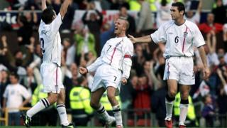 David Beckham scores for England