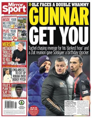 Saturday's back pages: Mirror Sport - 'Gunnar get you'