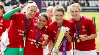 Arsenal players with the WSL trophy