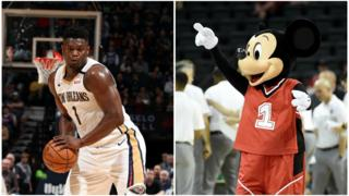 A split picture of Zion Williamson and Mickey Mouse