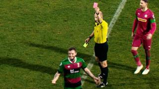 Darren Murray receives a red card