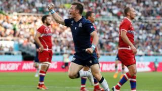 Scotland's George Horne scores against Russia