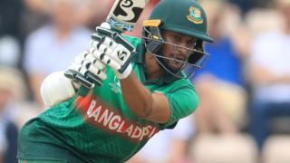 Bangladesh's Shakib Al Hasan plays a drive against Afghanistan