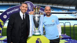 Manchester City chairman Khaldoon al-Mubarak (left) with manager Pep Guardiola