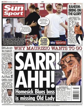 Sun back page on Wednesday