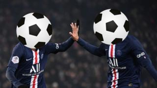 Picture of Neymar and Kylian Mbappe with their faces obscured by a football graphic