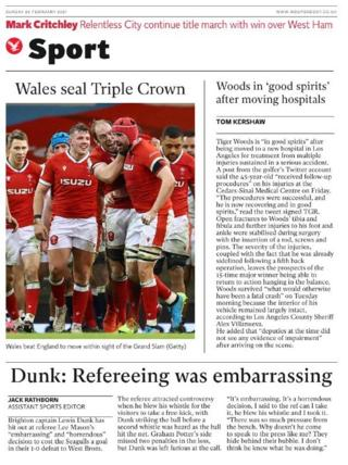 The back page of the Independent on Sunday
