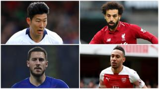 Son Heung-min, Mohamed Salah, Eden Hazard and Pierri-Emerick Aubameyang