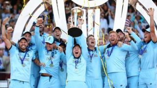 England celebrate with World Cup trophy