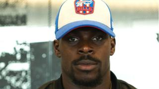Christian Wade in a Buffalo Bills cap