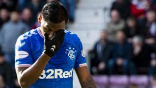 Alfredo Morelos during the 1-1 draw with Hearts