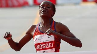 Brigid Kosgei sets a new world record