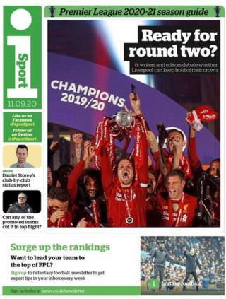 The front page of the I Sport section