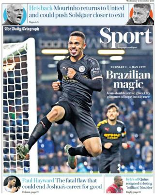 Wednesday's Telegraph back page