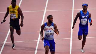 Great Britain men win 4x100m relay heat