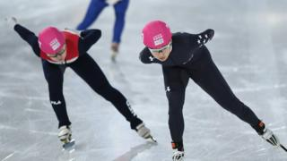 "Hailey Choi of USA competes in Women""s 1000m Short Track Speed Skating"
