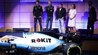 The Williams team with the new car