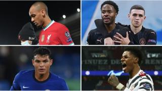 (clockwise from left) Fabinho, Raheem Sterling and Phil Foden, Marcus Rashford, Thiago Silva
