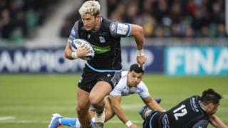 Glasgow Warriors' DTH van der Merwe scores against Sale