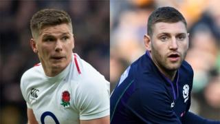 England's Owen Farrell and Scotland's Finn Russell