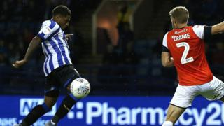 Sheffield Wednesday's Kadeem Harris scores the only goal of the game