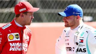 Ferrari's Sebastian Vettel and Valterri Bottas