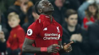 Sadio Mane celebrates scoring against Watford