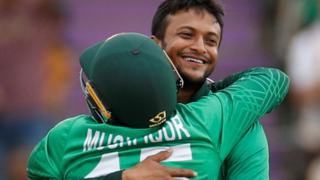 Bangladesh's Shakib Al Hasan celebrates taking a wicket against Afghanistan
