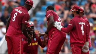 West Indies celebrate an Afghanistan wicket at Headingley