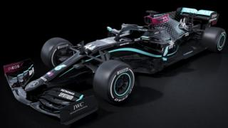 The Mercedes F1 car in black livery for the 2020 season