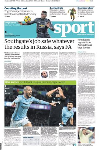 The back page of Monday's Guardian