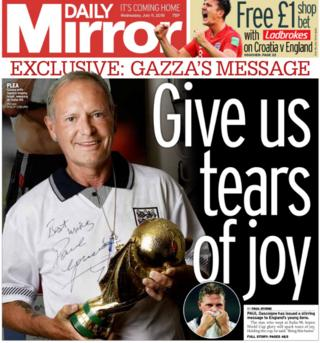 The Daily Mirror leads with a message to the England team from Paul Gascoigne